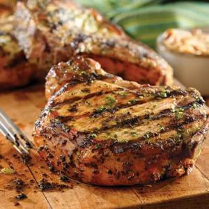 Grilled Pork Chops with Basil-Garlic