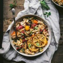 Mediterranean Pasta with Mushroom and Sage Olive Oil