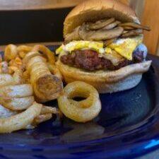 Mushroom, Swiss and Fried Egg Cheeseburger
