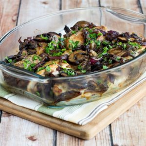 Roasted Chicken thighs w mushrooms